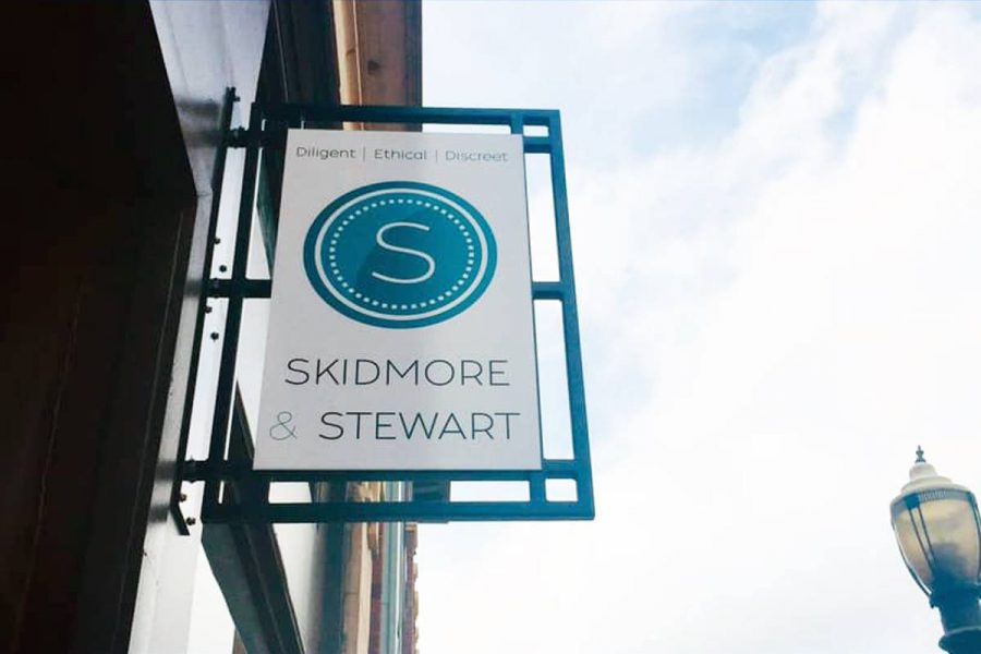 The outside sign of Skidmore & Stewarts Rock Hill, South Carolina location